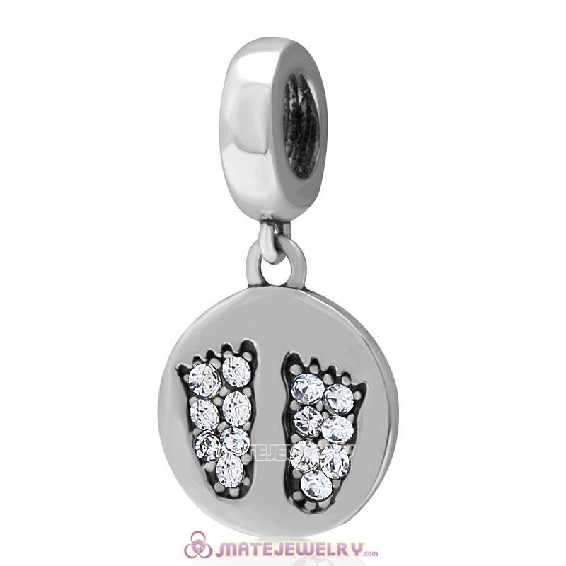 Clear Crystal Pave Baby Feet Charm Dangle 925 Sterling Silver