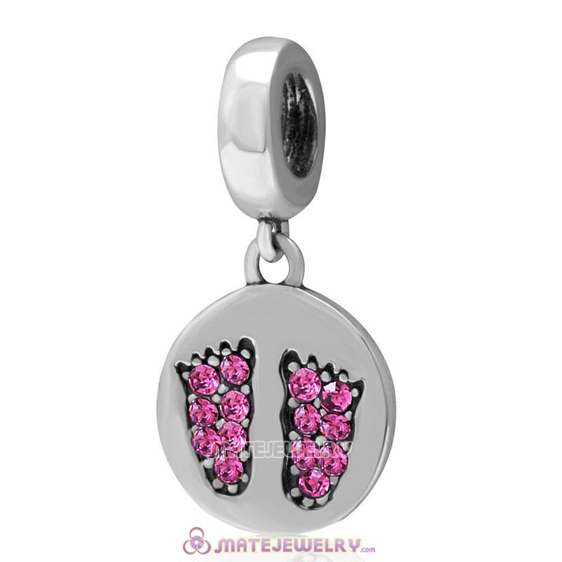 Rose Crystal Pave Baby Feet Charm Dangle 925 Sterling Silver