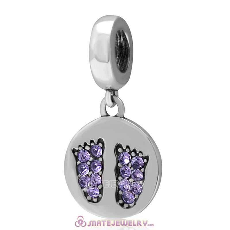 Tanzanite Crystal Pave Baby Feet Charm Dangle 925 Sterling Silver