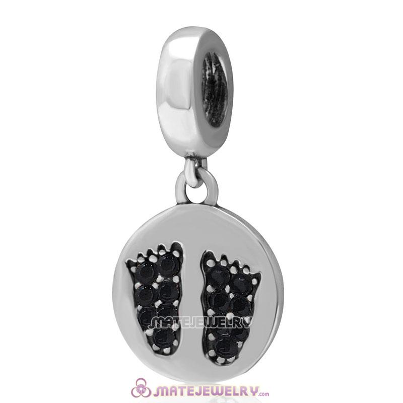 Jet Crystal Pave Baby Feet Charm Dangle 925 Sterling Silver