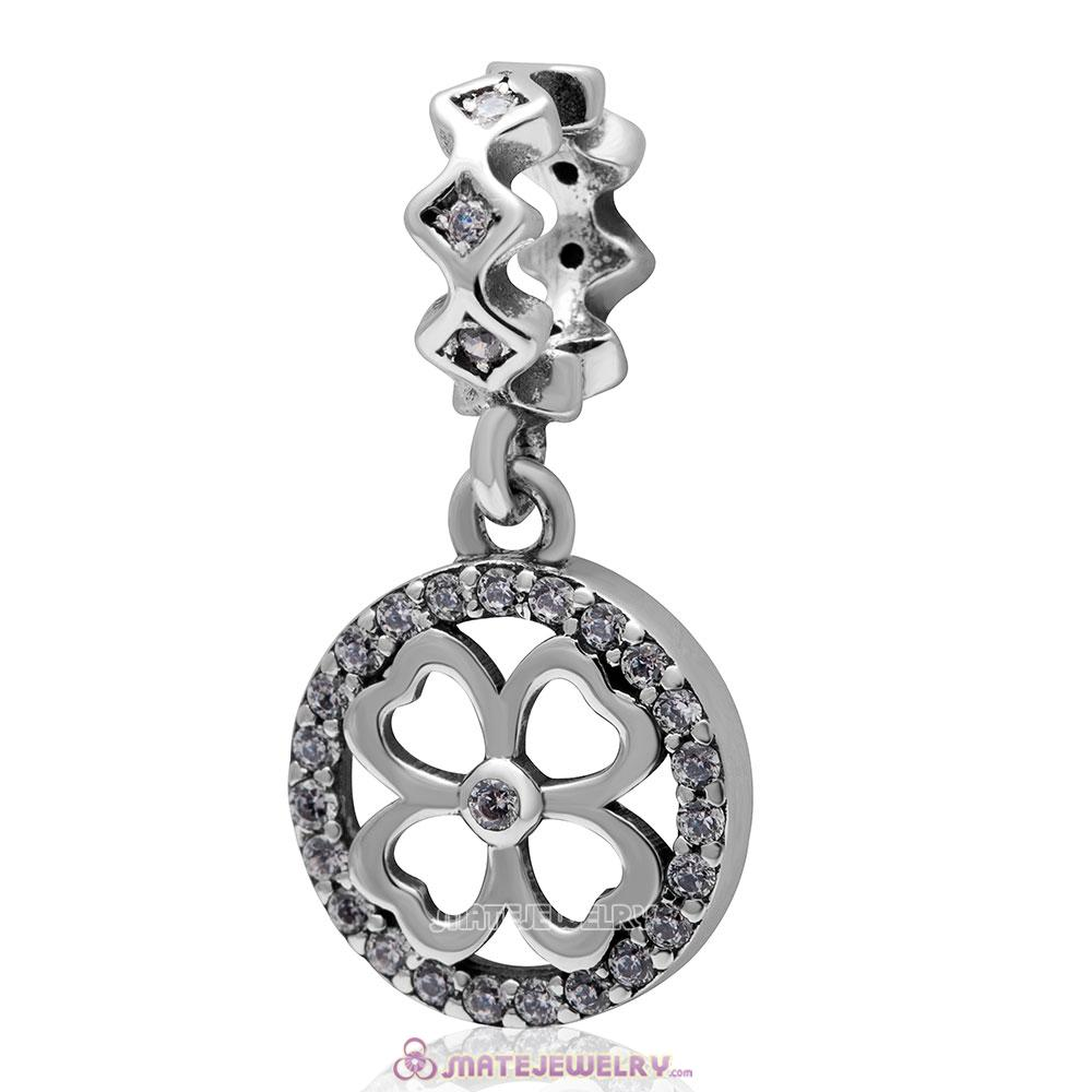 925 Sterling Silver Lucky Clover Dangle Clear Cz Bead