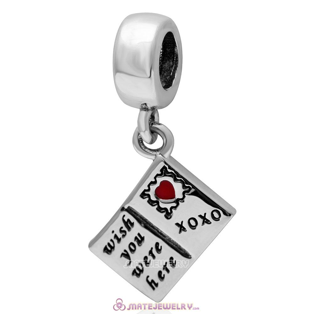 Wish You Were Here 925 Sterling Silver Postcard Charm