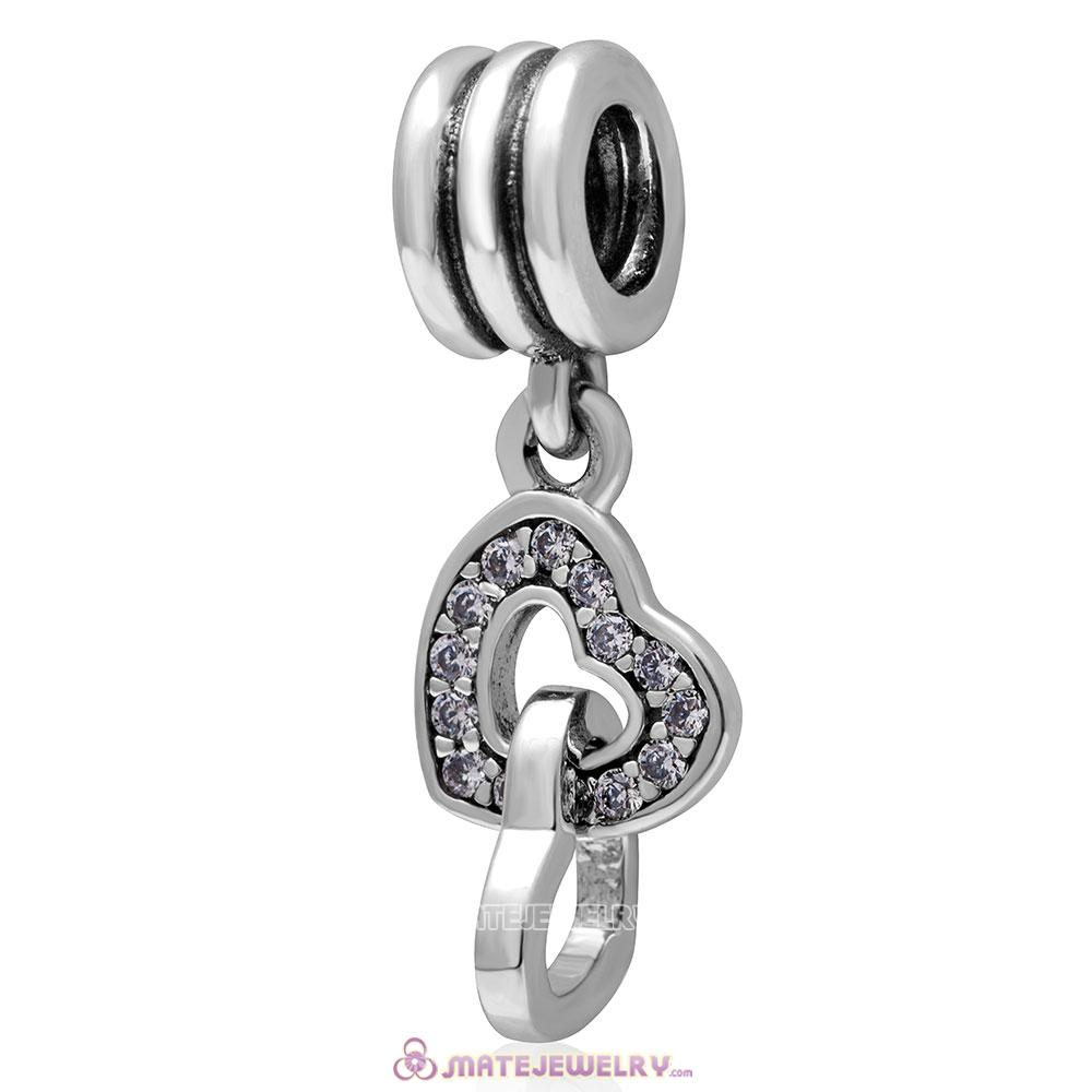 Heart to Heart 925 Sterling Silver Clear Cz Charm