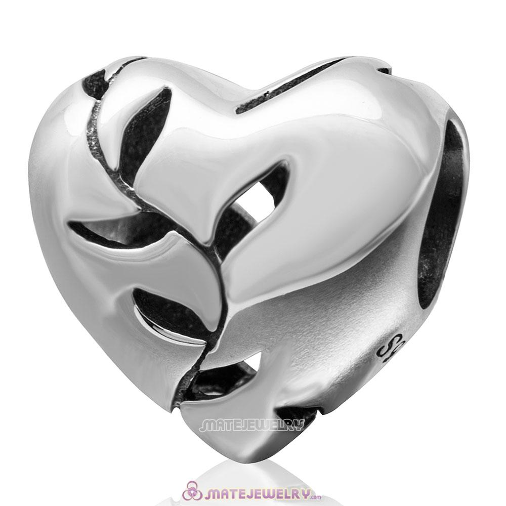 Willows Open Charm 925 Sterling Silver Heart Bead