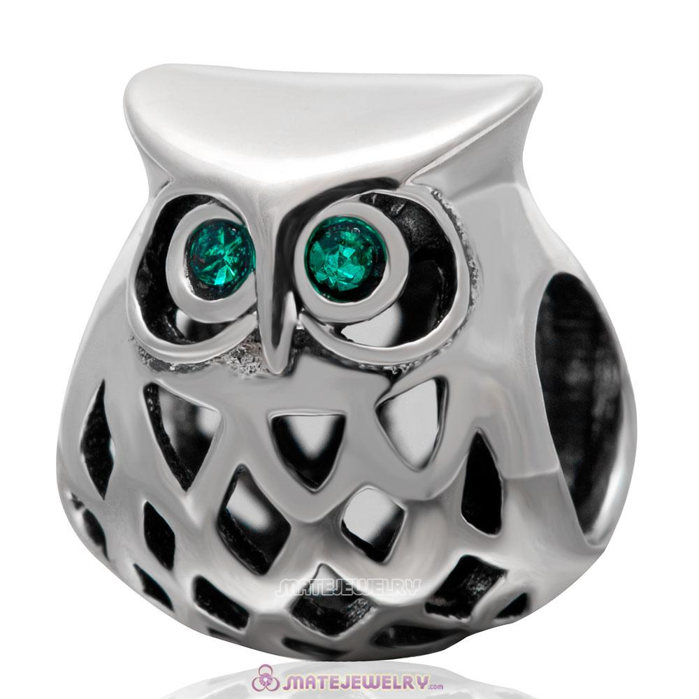 Wise Owl Charm 925 Sterling Silver with Emerald Crystal Eye Bead