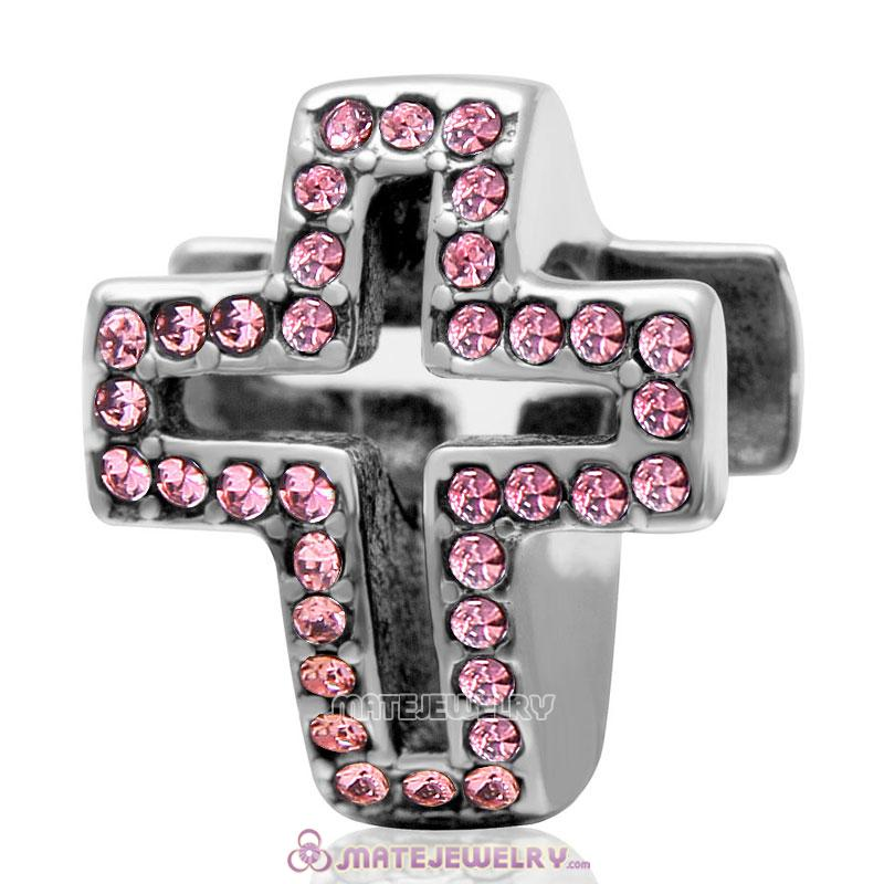 Spackly Christian Cross Charm 925 Sterling Silver with Lt Rose Crystal