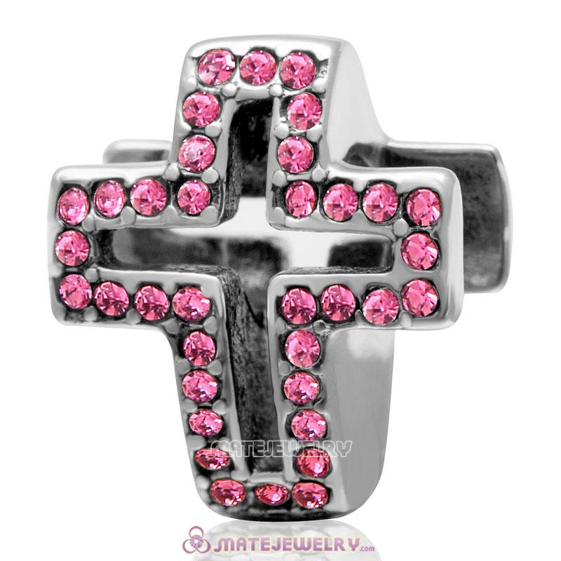 Spackly Christian Cross Charm 925 Sterling Silver with Rose Crystal