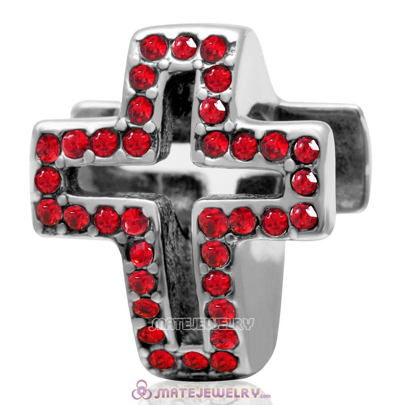 Spackly Christian Cross Charm 925 Sterling Silver with Lt Siam Crystal