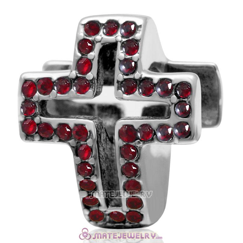 Spackly Christian Cross Charm 925 Sterling Silver with Siam Crystal