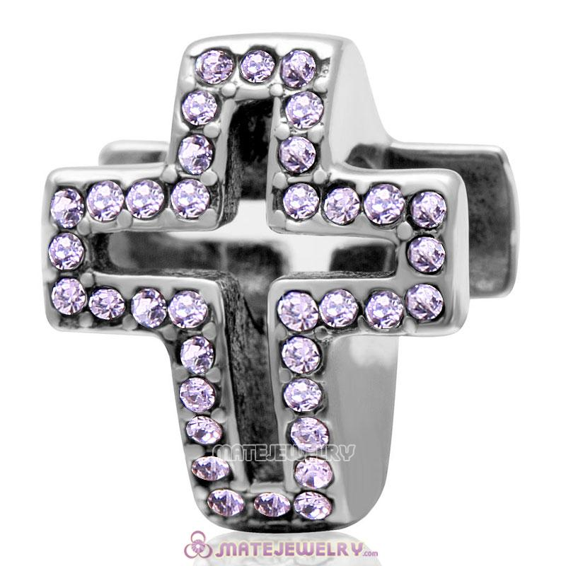 Spackly Christian Cross Charm 925 Sterling Silver with Violet Crystal