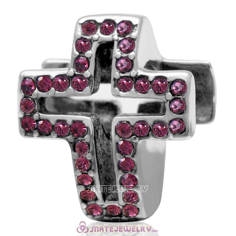 Spackly Christian Cross Charm 925 Sterling Silver with Amethyst Crystal