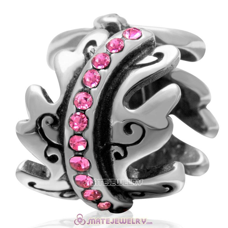 European Birthstone Charm Spacer Rose Crystal Bead 925 Silver