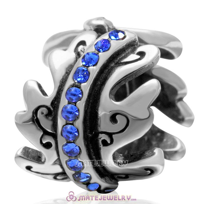 European September Birthstone Charm Spacer Sapphire Crystal Bead 925 Silver