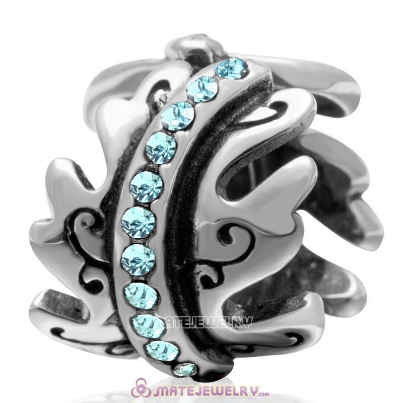 European March Birthstone Charm Spacer Aquamarine Crystal Bead 925 Silver