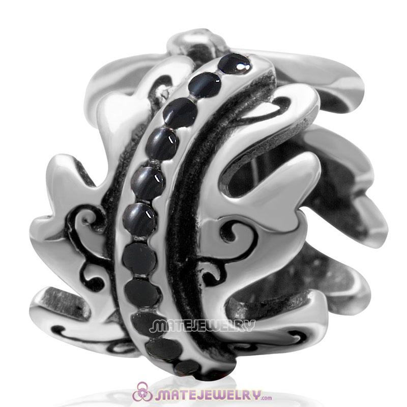 European Birthstone Charm Spacer Jet Crystal Bead 925 Silver