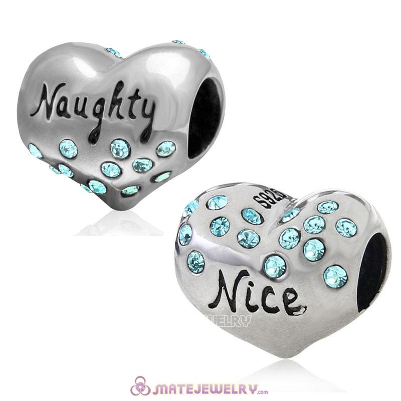 Nice or Naughty Heart 925 Sterling Silver with Aquamarine Crystal Charm