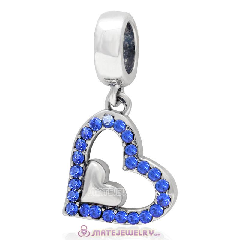925 Sterling Silver Sapphire Crystal Heart in Heart Pendant Charm