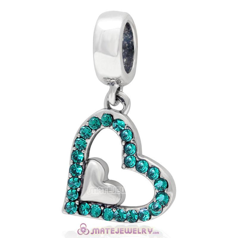 925 Sterling Silver Emerald Crystal Heart in Heart Pendant Charm