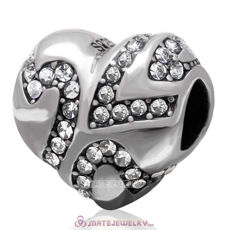 European Style Sterling Silver Valentines Heart Bead with Clear Crystal