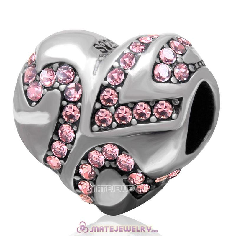 European Style Sterling Silver Valentines Heart Bead with Lt Rose Crystal