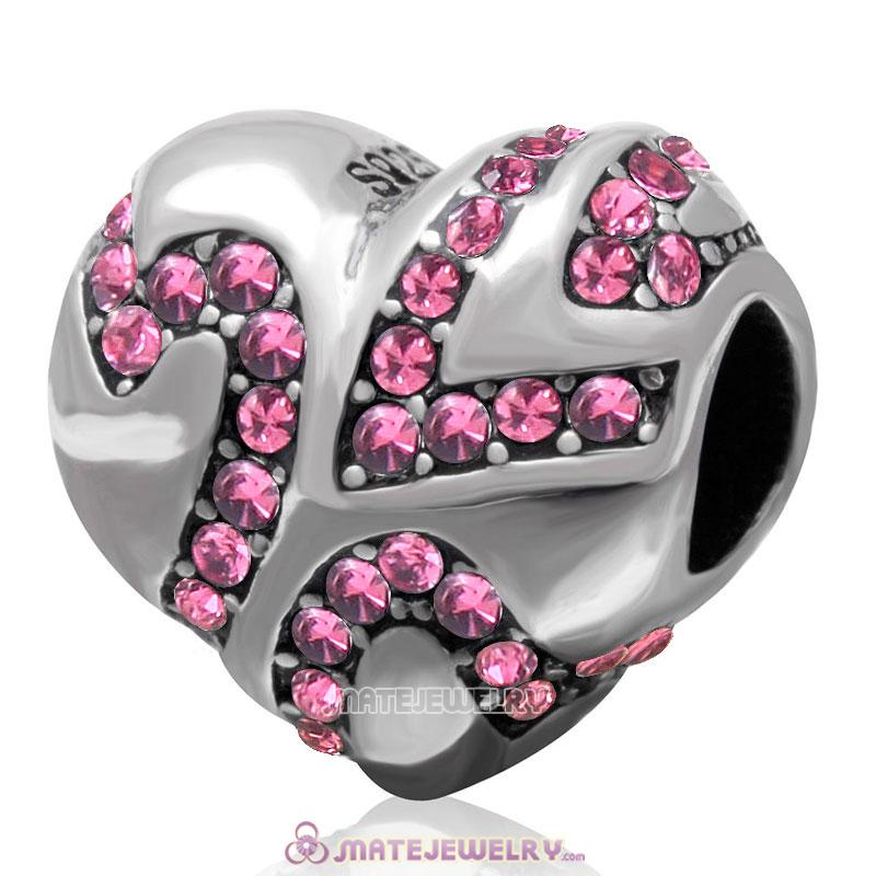 European Style Sterling Silver Valentines Heart Bead with Rose Crystal