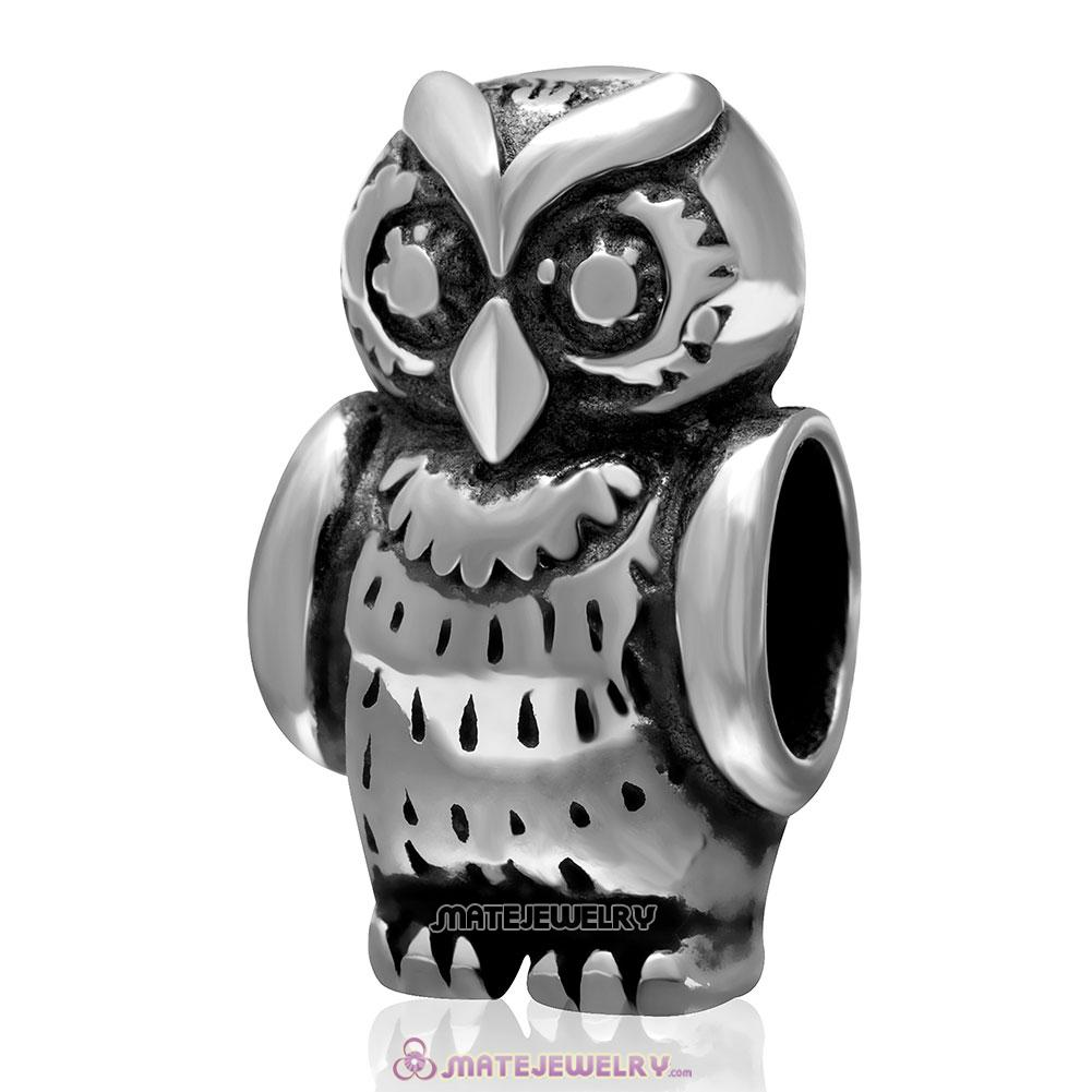 Thick Owl Charm 925 Sterling Silver Animal Bead