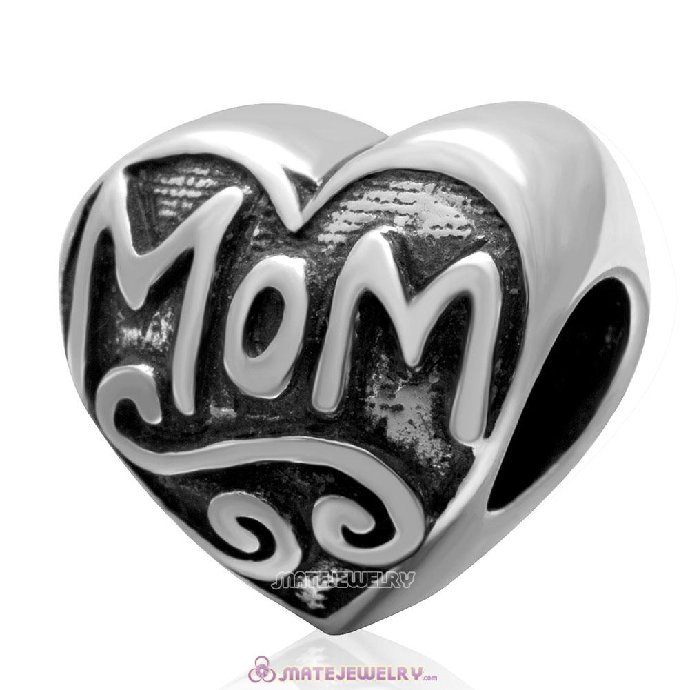 Love Mom Heart Charm 925 Sterling Silver Mother Day Bead Jewelry