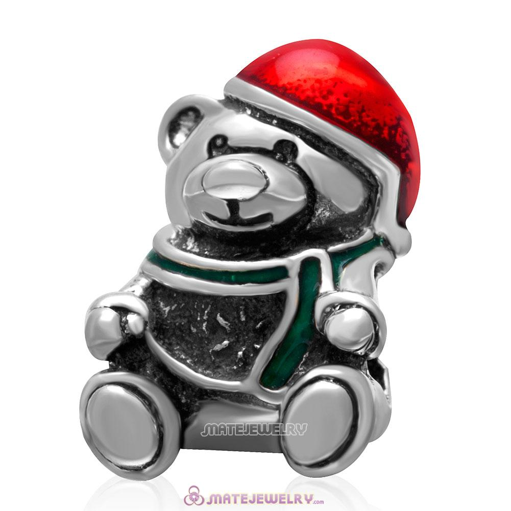 Christmas Bear Wearing Red Hat Charm 925 Sterling Silver Beads
