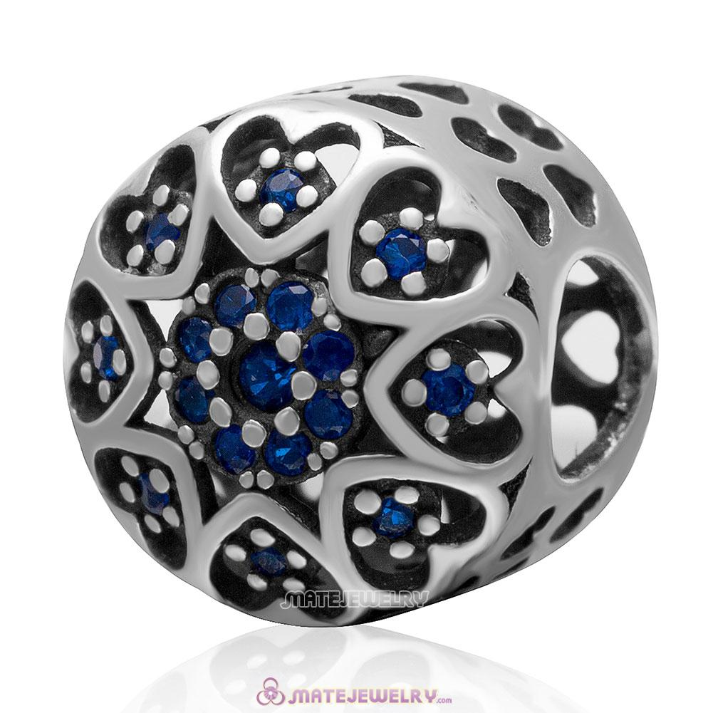 Openwork Love Heart Charm 925 Sterling Silver Bead with Blue Cz