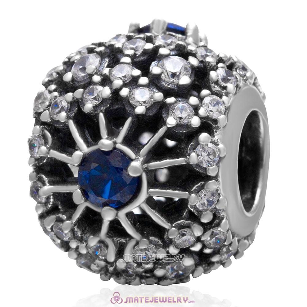 Inner Radiance Charm 925 Sterling Silver Bead with Blue Clear Cz