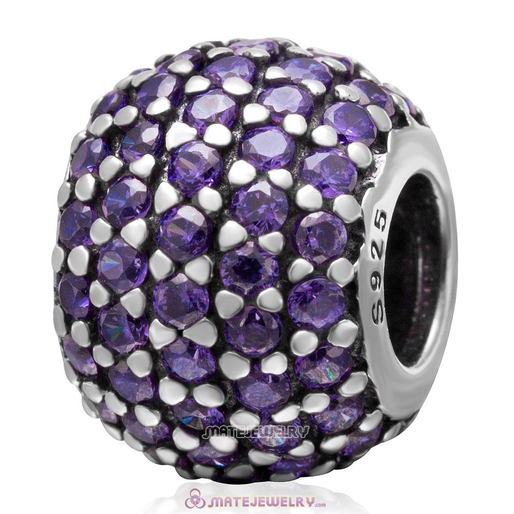 Purple Pave Lights with Tanzanite CZ Charm 925 Sterling Silver Bead