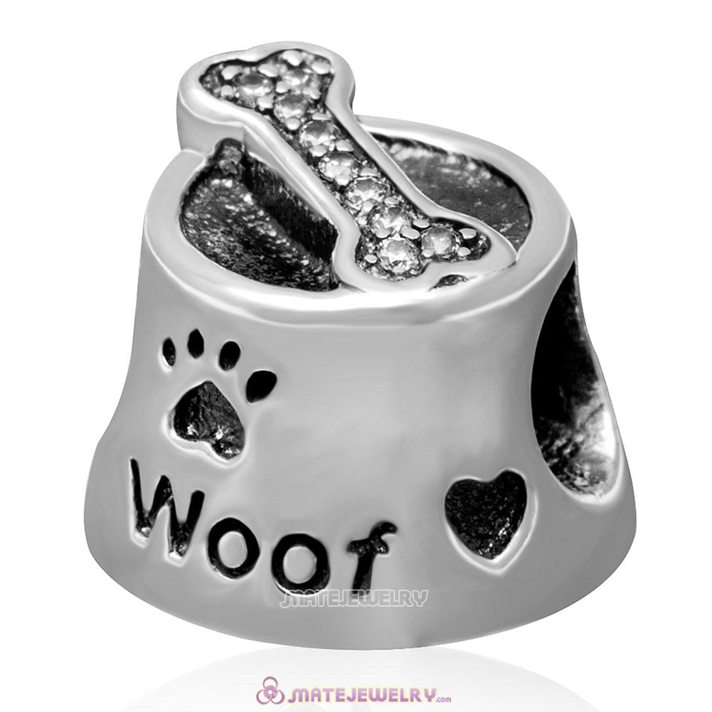 Woof with Clear CZ Charm 925 Sterling Silver Bead