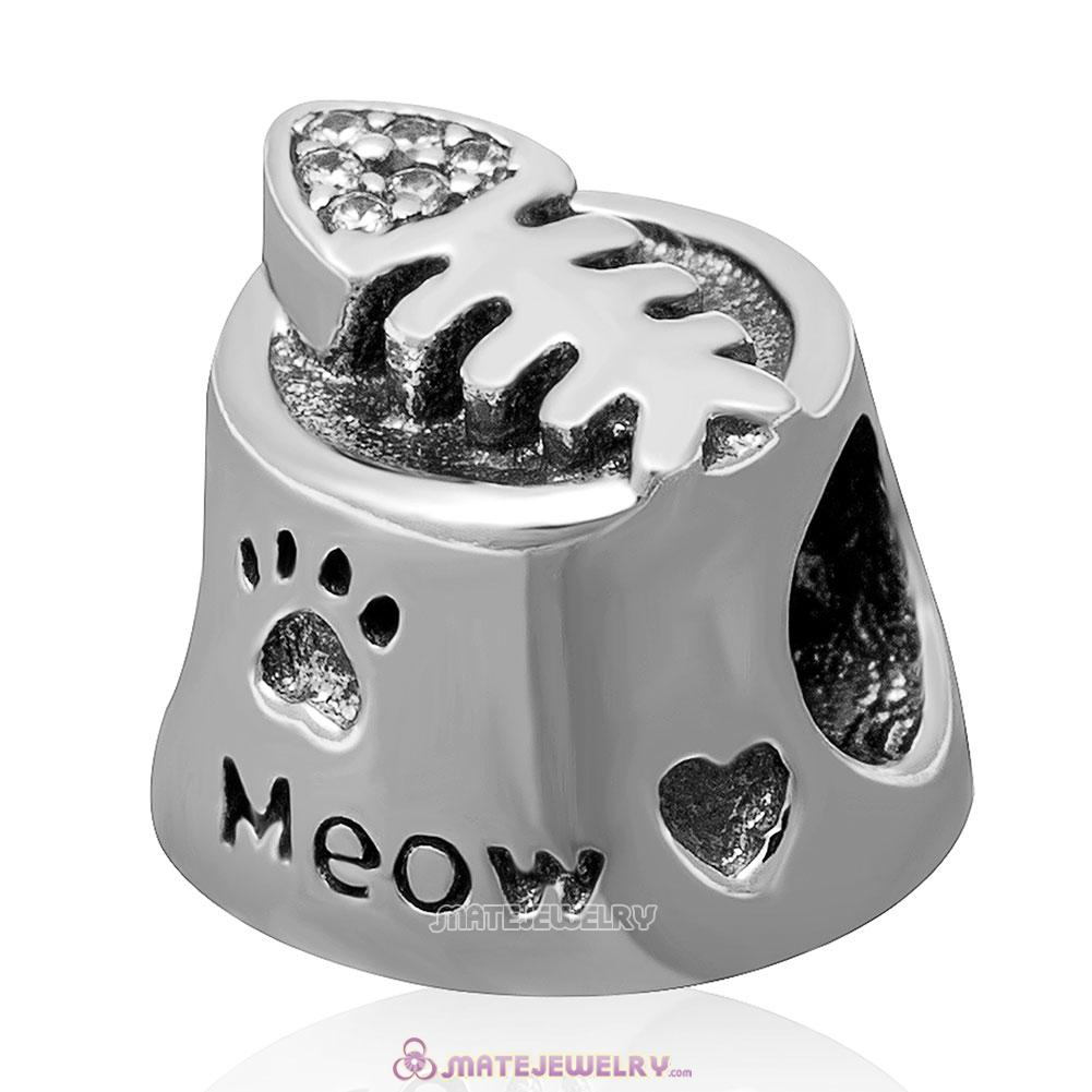Meow with Clear CZ Charm 925 Sterling Silver Bead