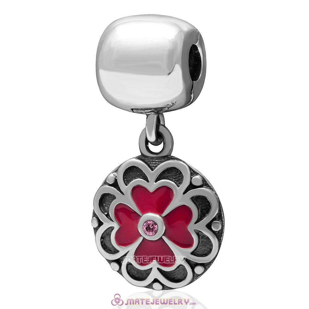 Red Clover Pink Cz Charm 925 Sterling Silver Dangle Clip Bead