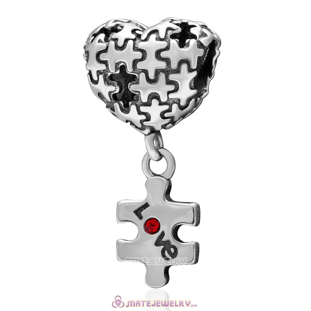Autism Puzzle Heart Love Charm 925 Sterling Silver with Red Crystal Dangle Bead