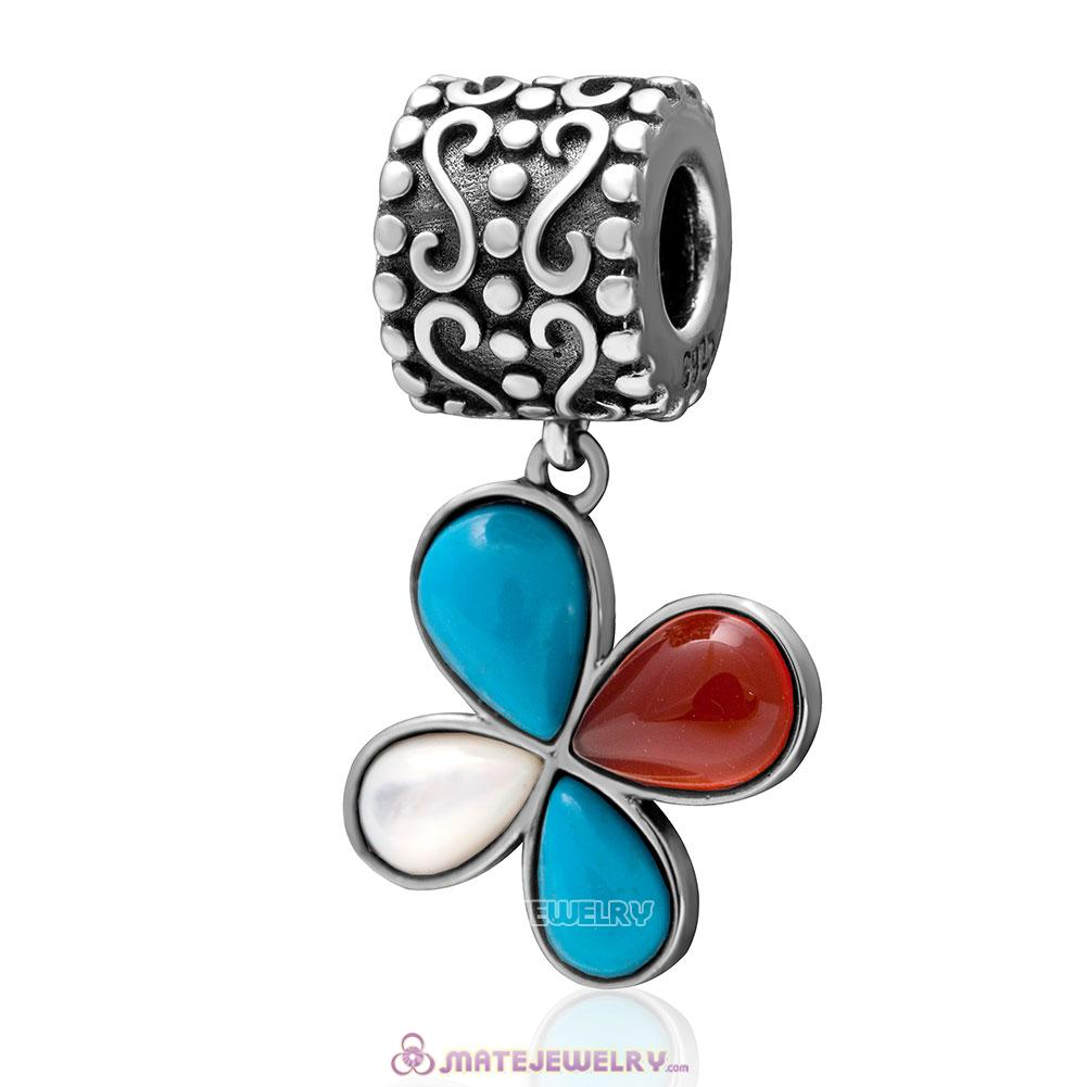 Dangle Natural Turquoise Flower Charm 925 Sterling Silver Pendant Bead