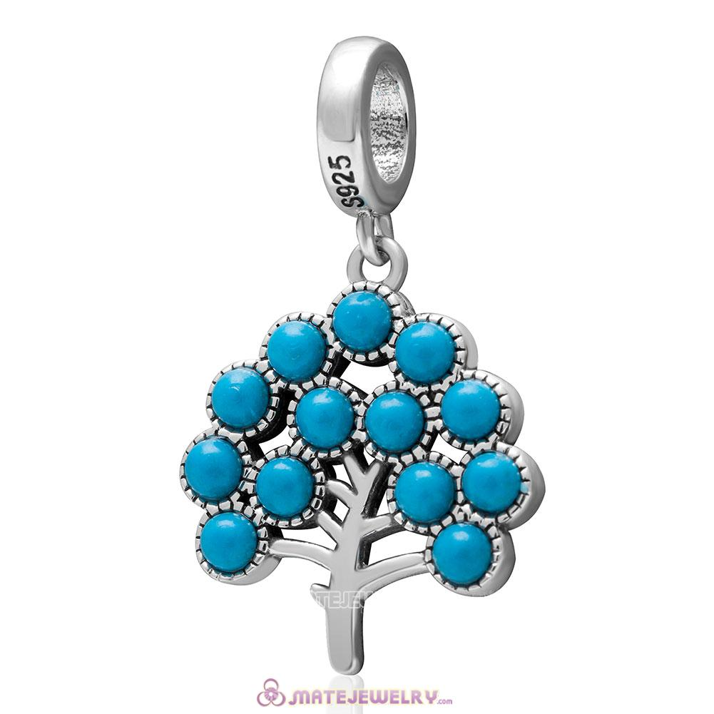 Family Tree Charm 925 Sterling Silver Pendant Natural Turquoise Bead