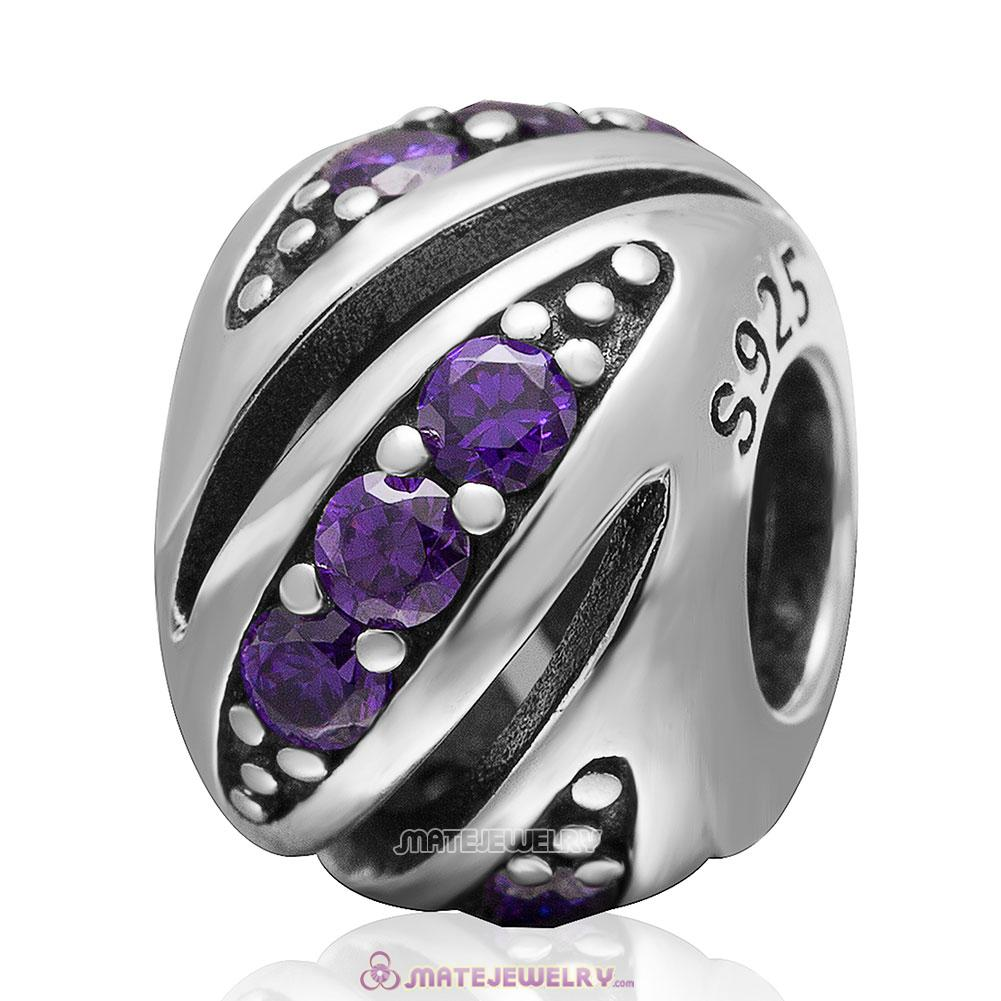 Purple Cubic Zirconia Charm 925 Sterling Silver Bead