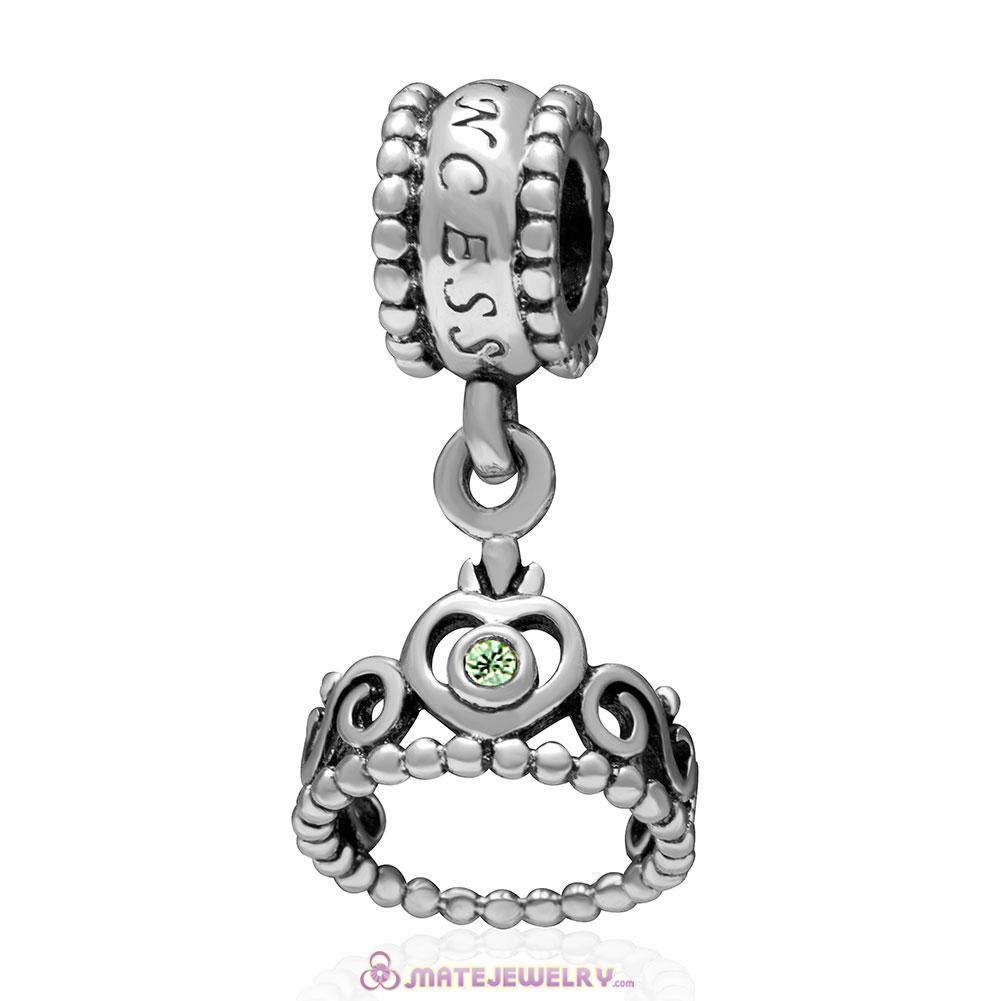 European Sterling My Princess Dangle With Peridot Austrian Crystal