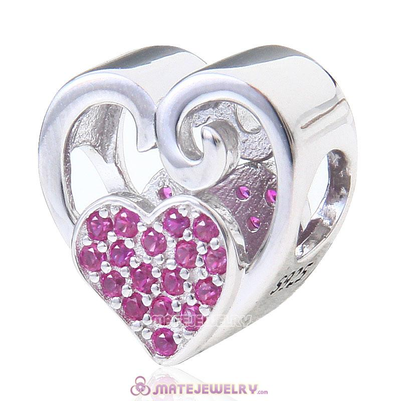 Double Heart Love 925 Sterling Silver with Fuchsia Stone Bead