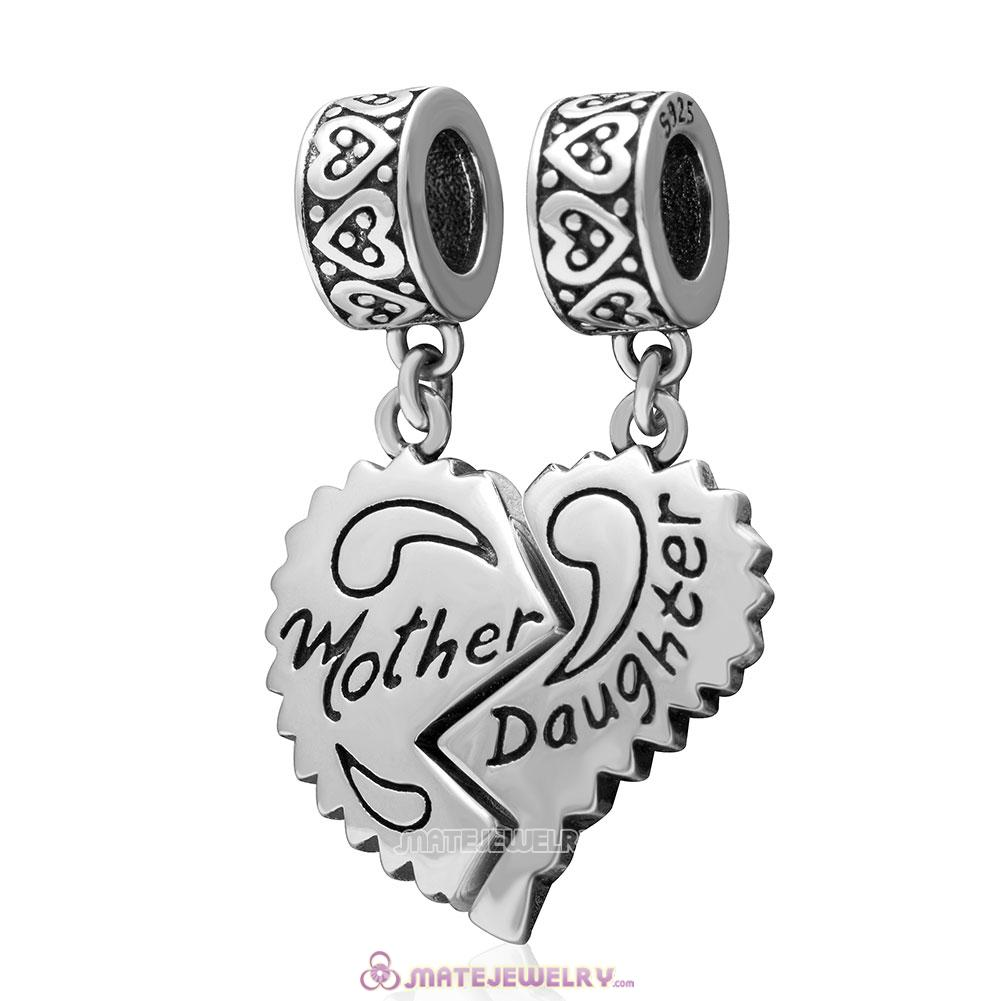 Dangle 925 Sterling Silver Mother Daughter Separate Heart Charm
