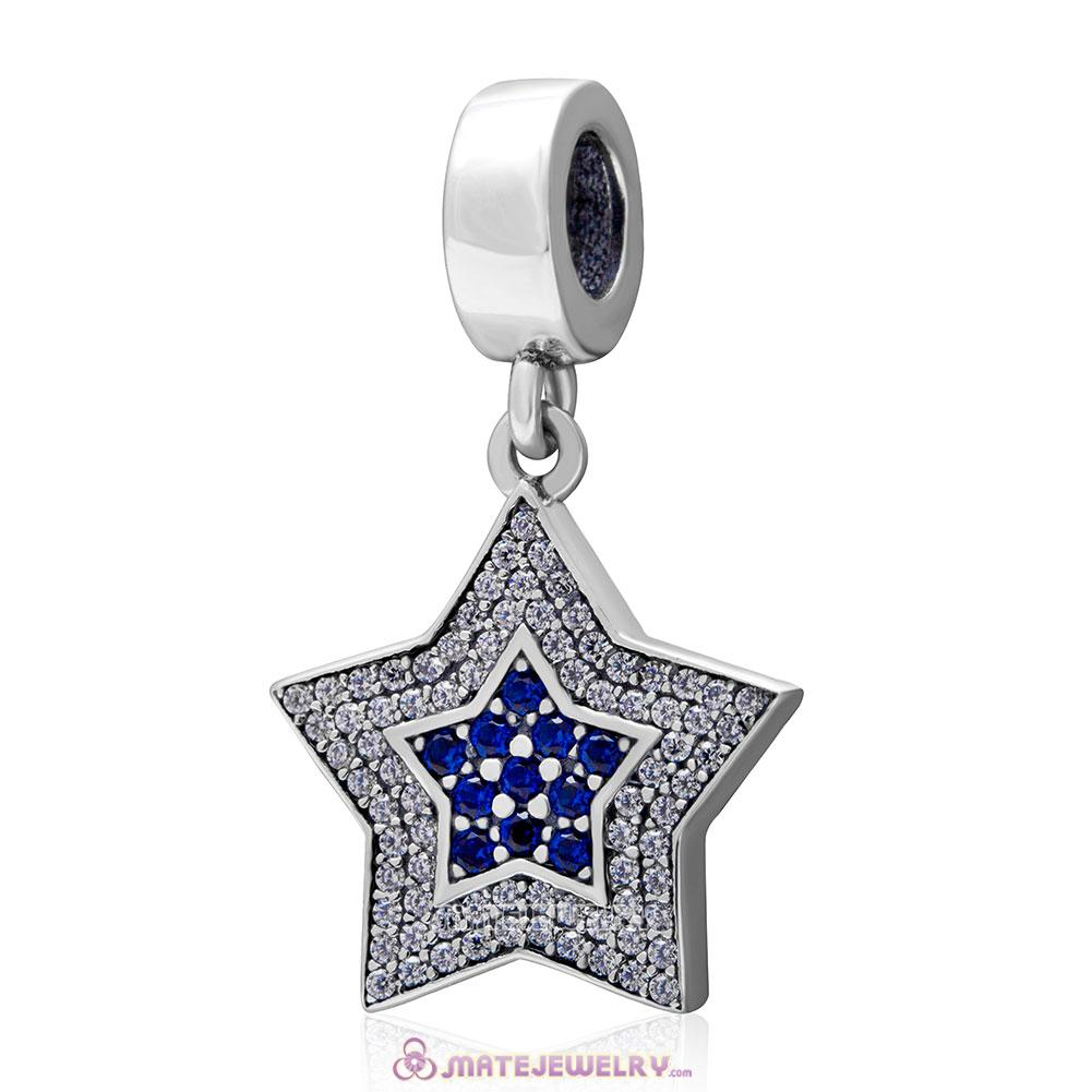 Aspiration Star Charm Dangle 925 Sterling Silver Clear Blue Pave Charm