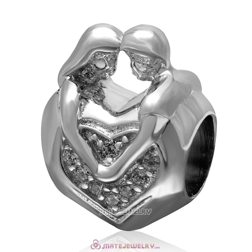 Lover Couple Hug Heart Charm 925 Sterling Silver Clear Stone Bead
