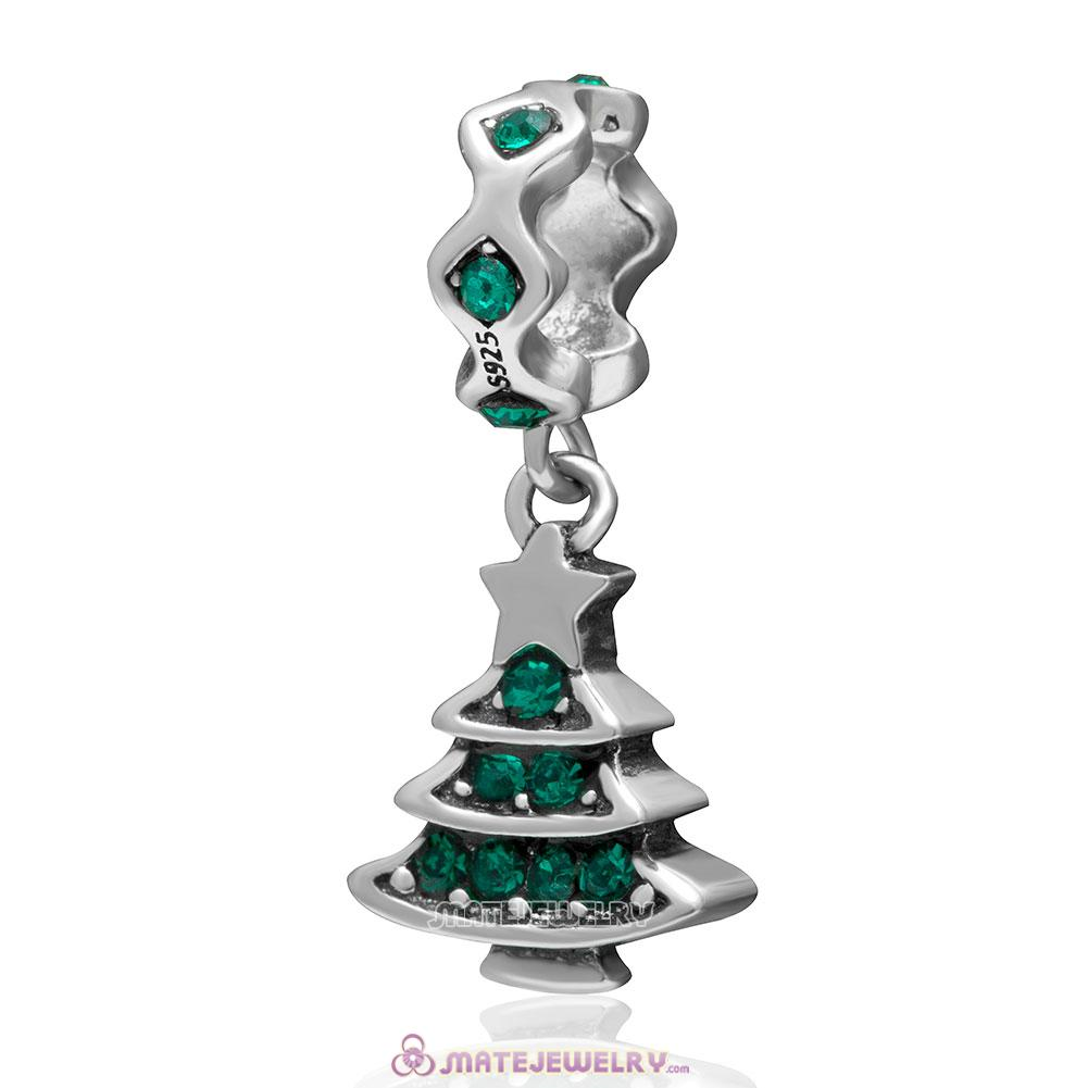 Christmas Tree Charm 925 Sterling Silver Dangle Bead with Emerald Crystal