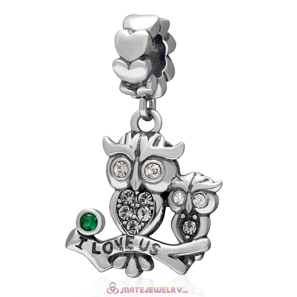 I Love Us Owl Charm 925 Sterling Silver Dangle Bead with Clear Crystal