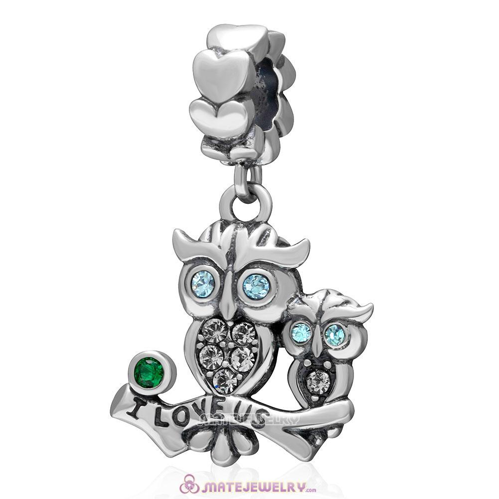 I Love Us Owl Charm 925 Sterling Silver Dangle Bead with Aquamarine Crystal