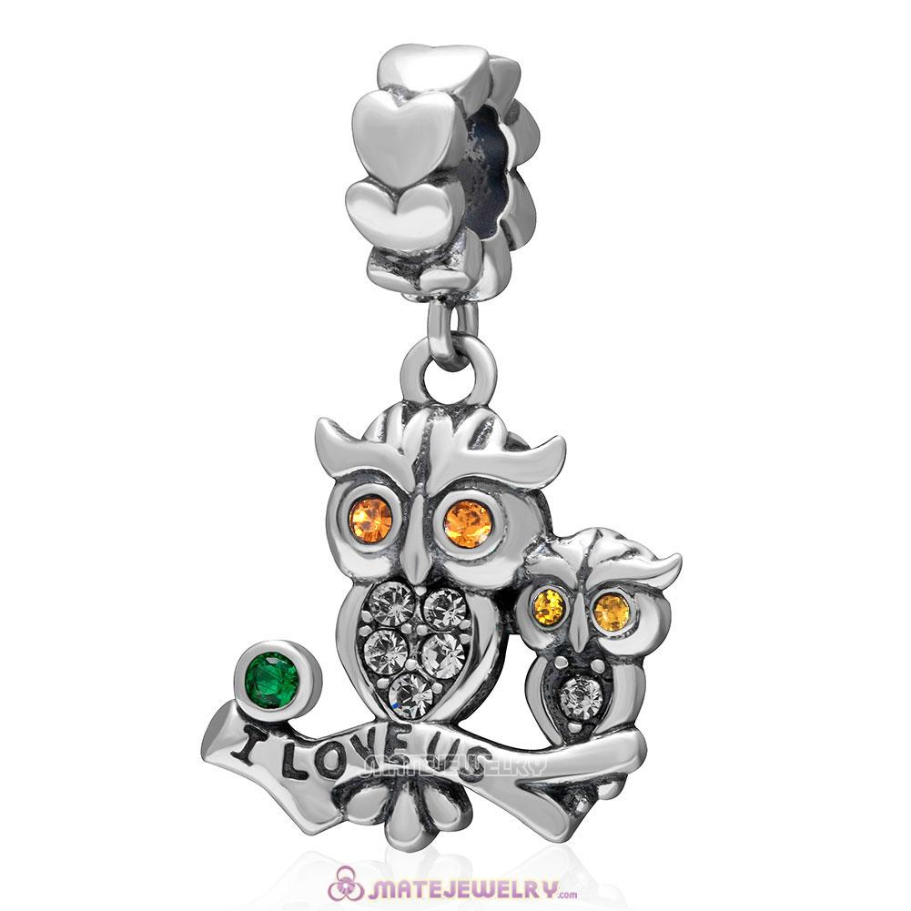 I Love Us Owl Charm 925 Sterling Silver Dangle Bead with Topaz Crystal