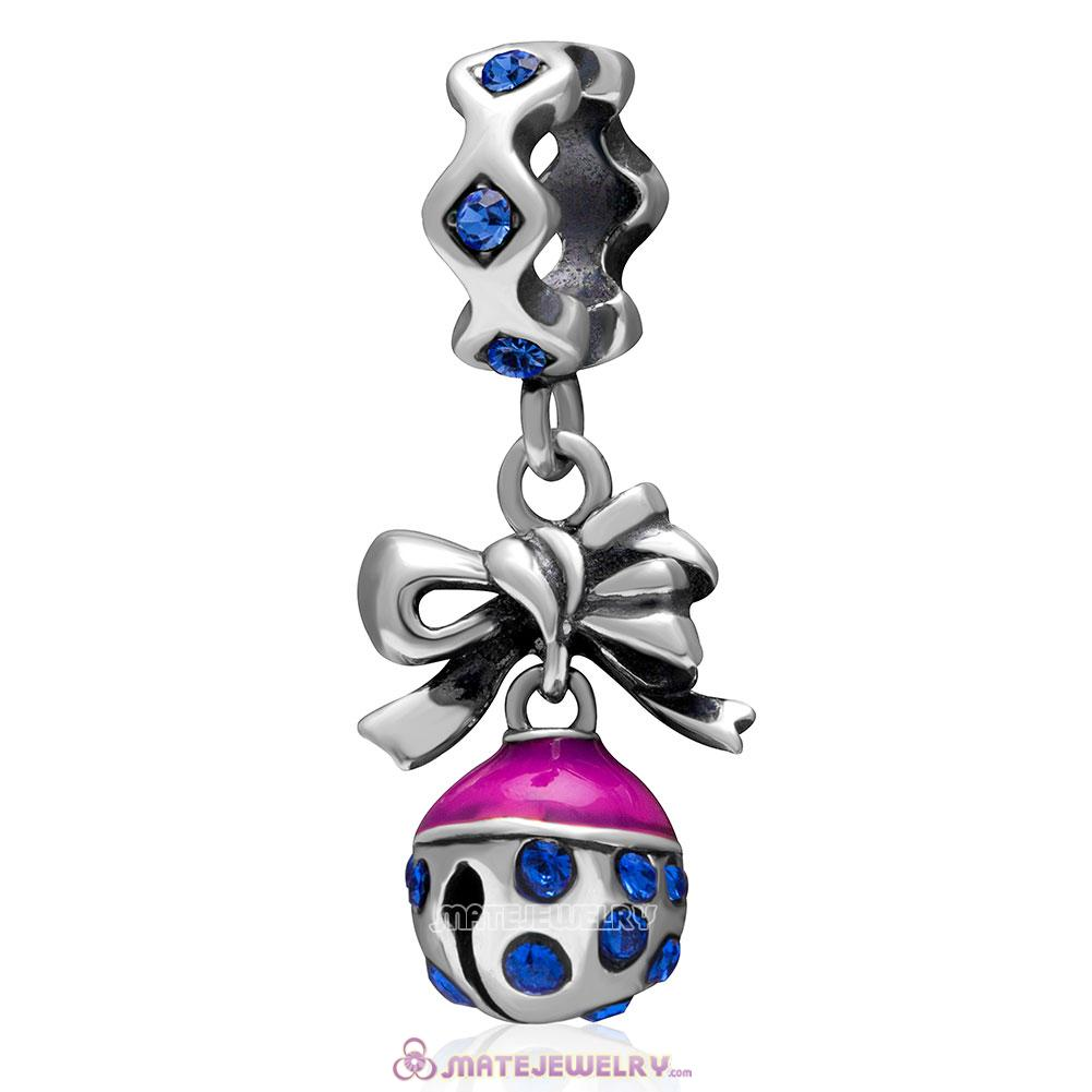 Christmas Bell Charm 925 Sterling Silver Dangle Bead with Sapphire Crystal