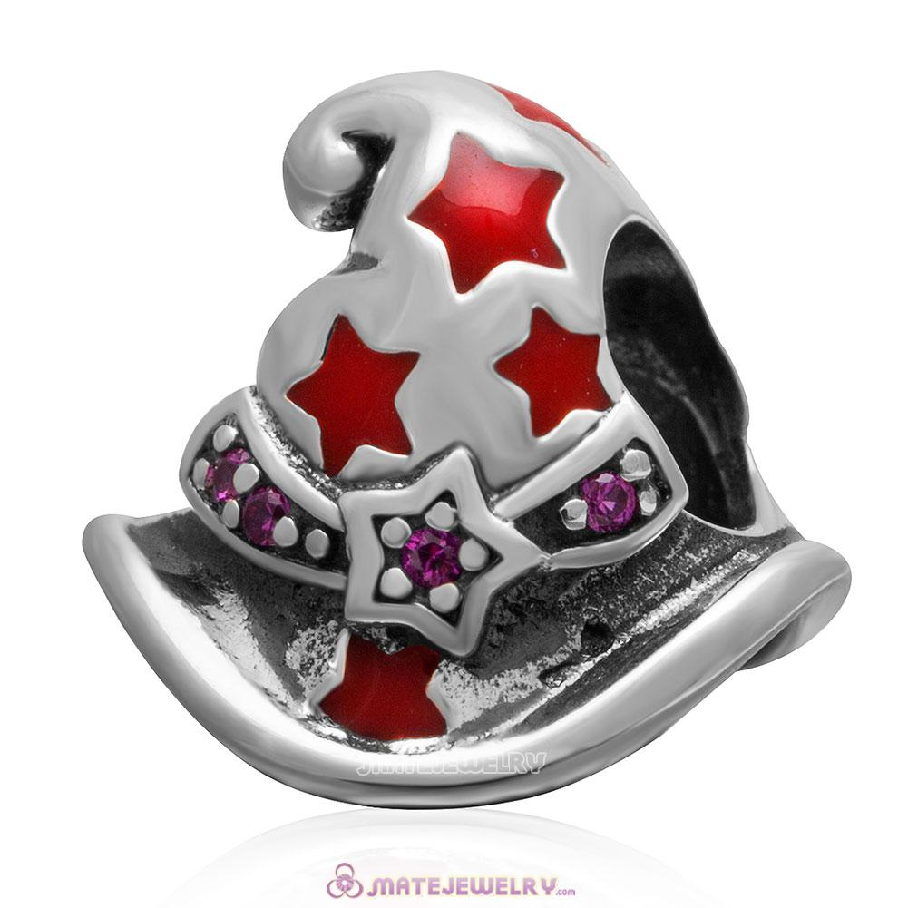 Magic or Witch Hat 925 Sterling Silver Enamel Bead with Stone