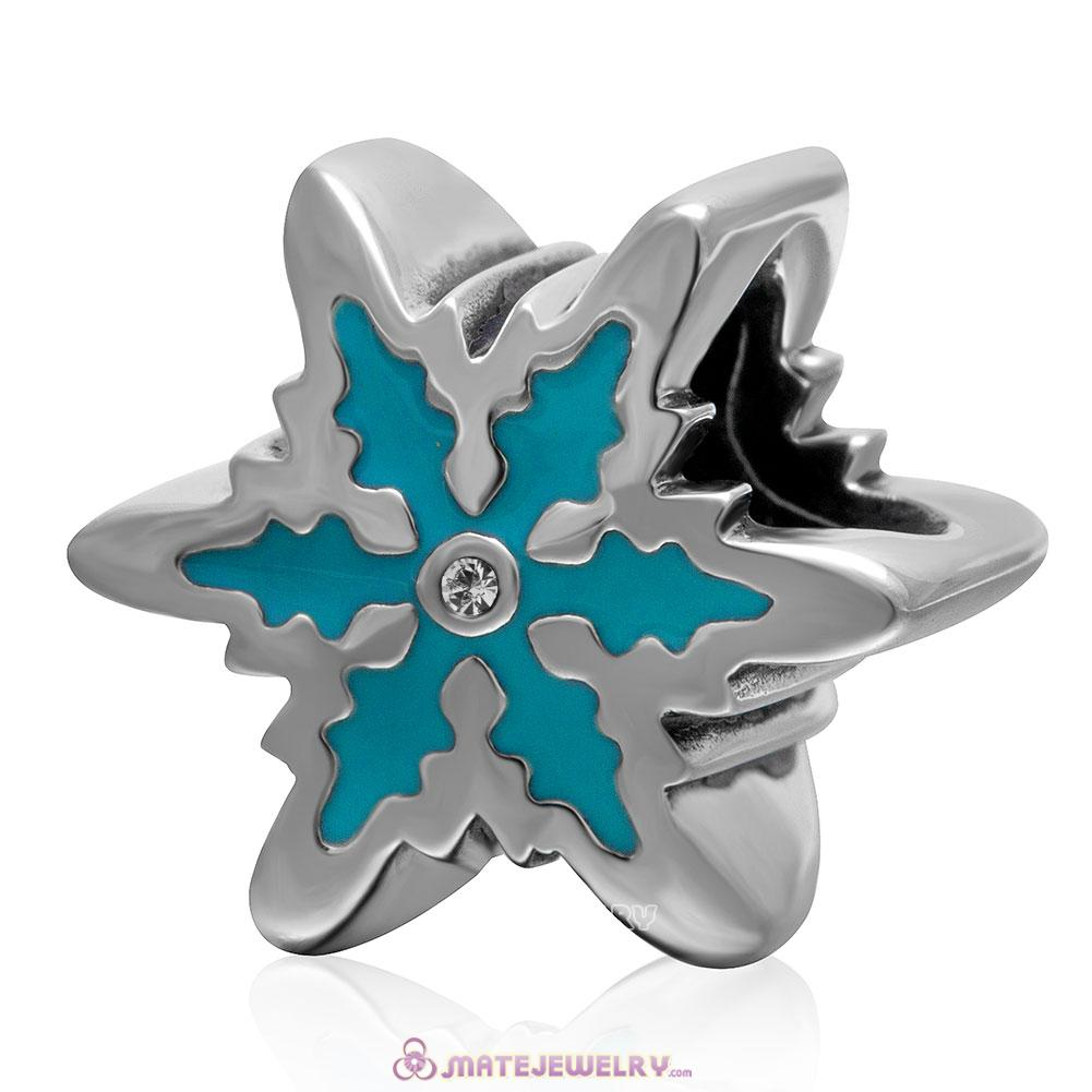 Blue Snowflake 925 Sterling Silver Enamel Charm Bead with Clear Crystal